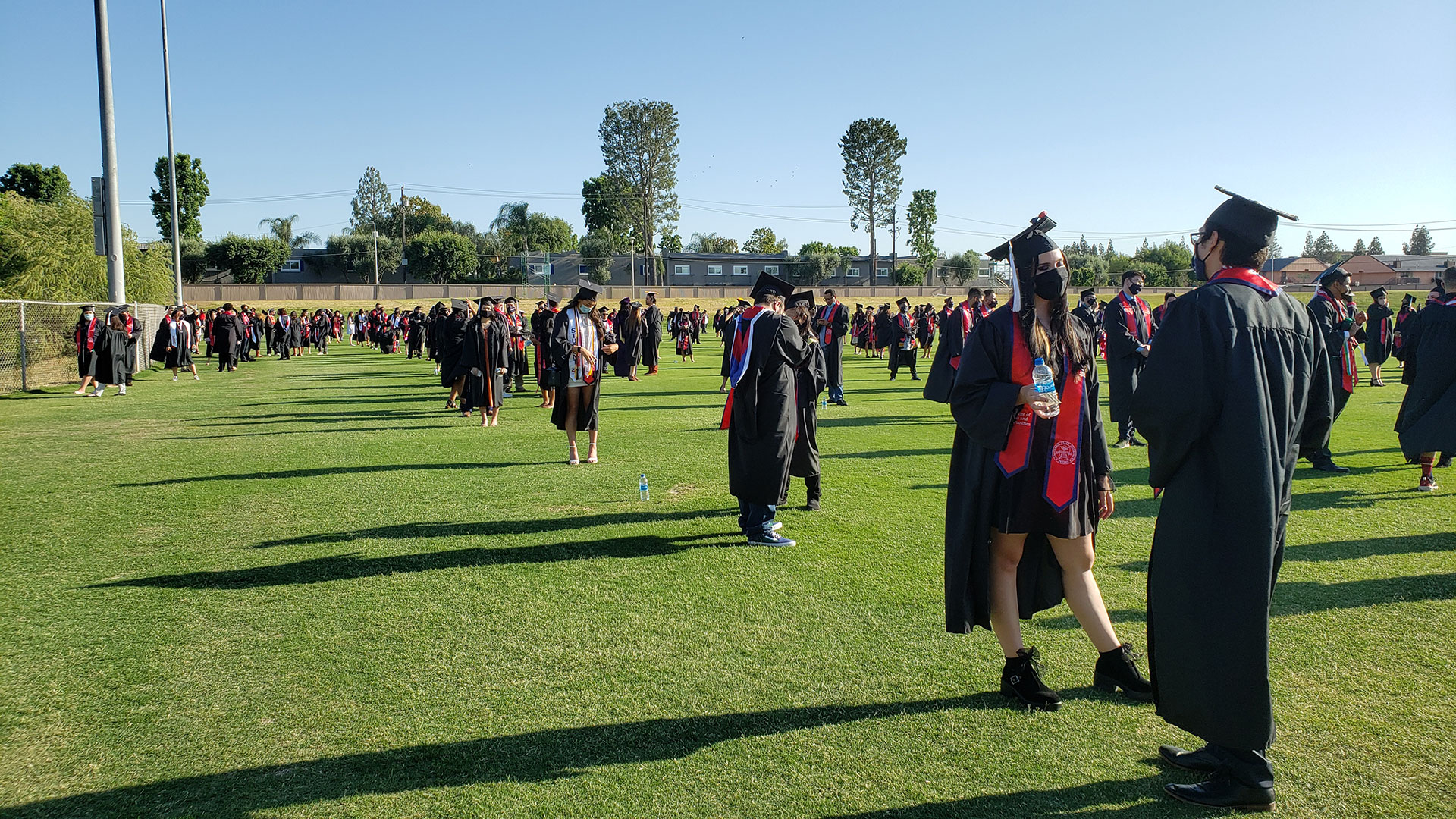 Grads line up, ready for the procession.