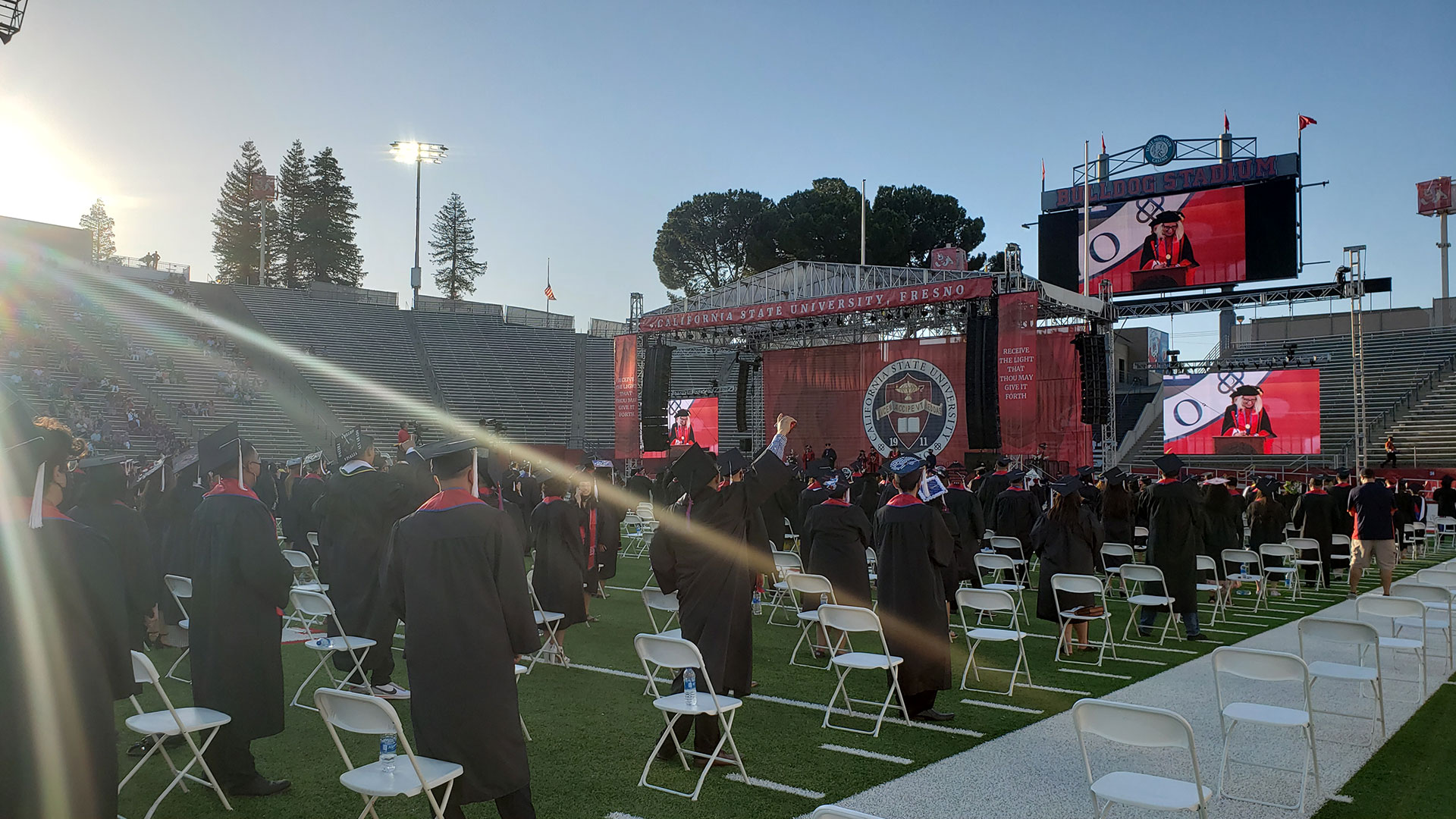 Sun setting during commencement.