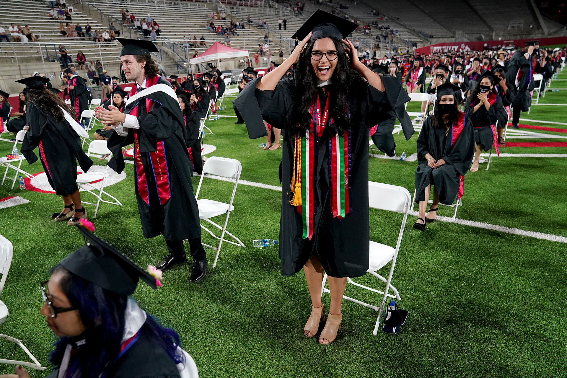 Graduate Victoria Cisneros during commencement. Photo by Cary Edmondson