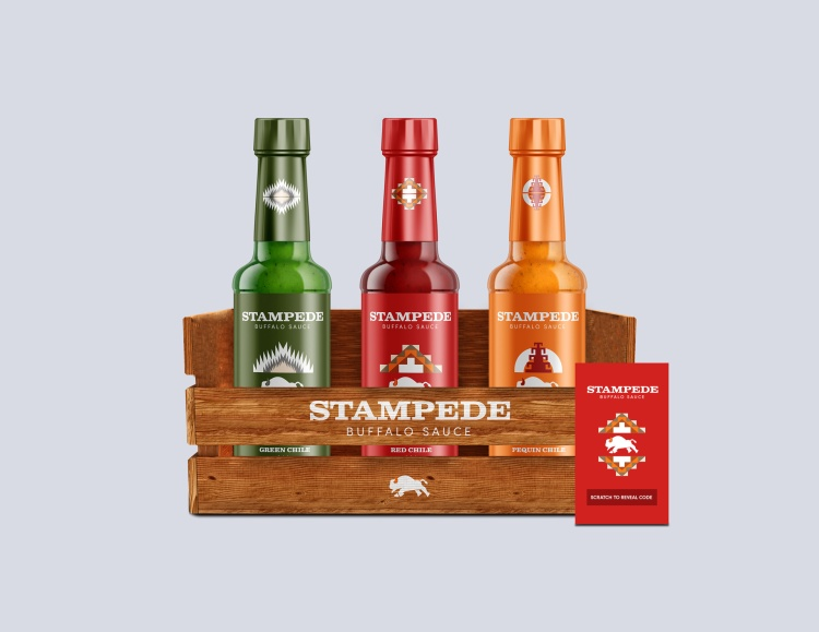 Sales and Marketing – Sales Promotion - Packaging Silver – Stampede Buffalo Sauce Labels Angel Rodriguez