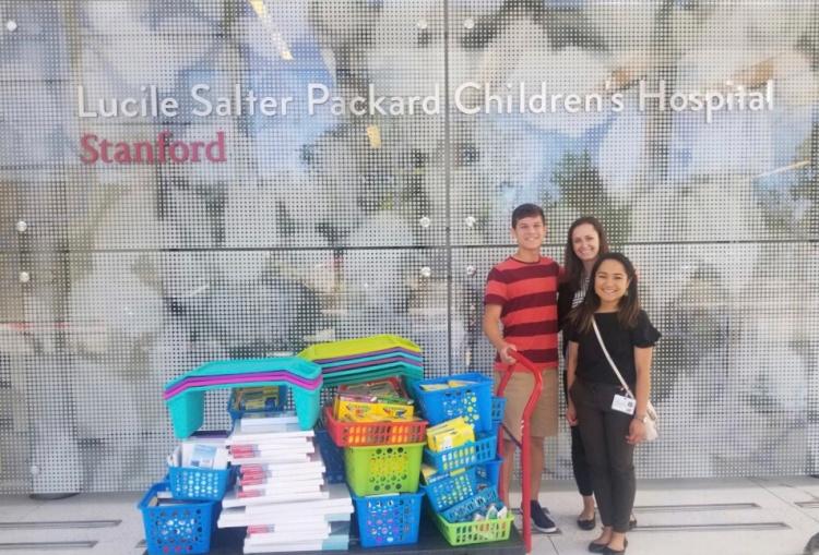 Lucca Lorenzi donates art supplies to Lucile Salter Packard Children's Hospital.