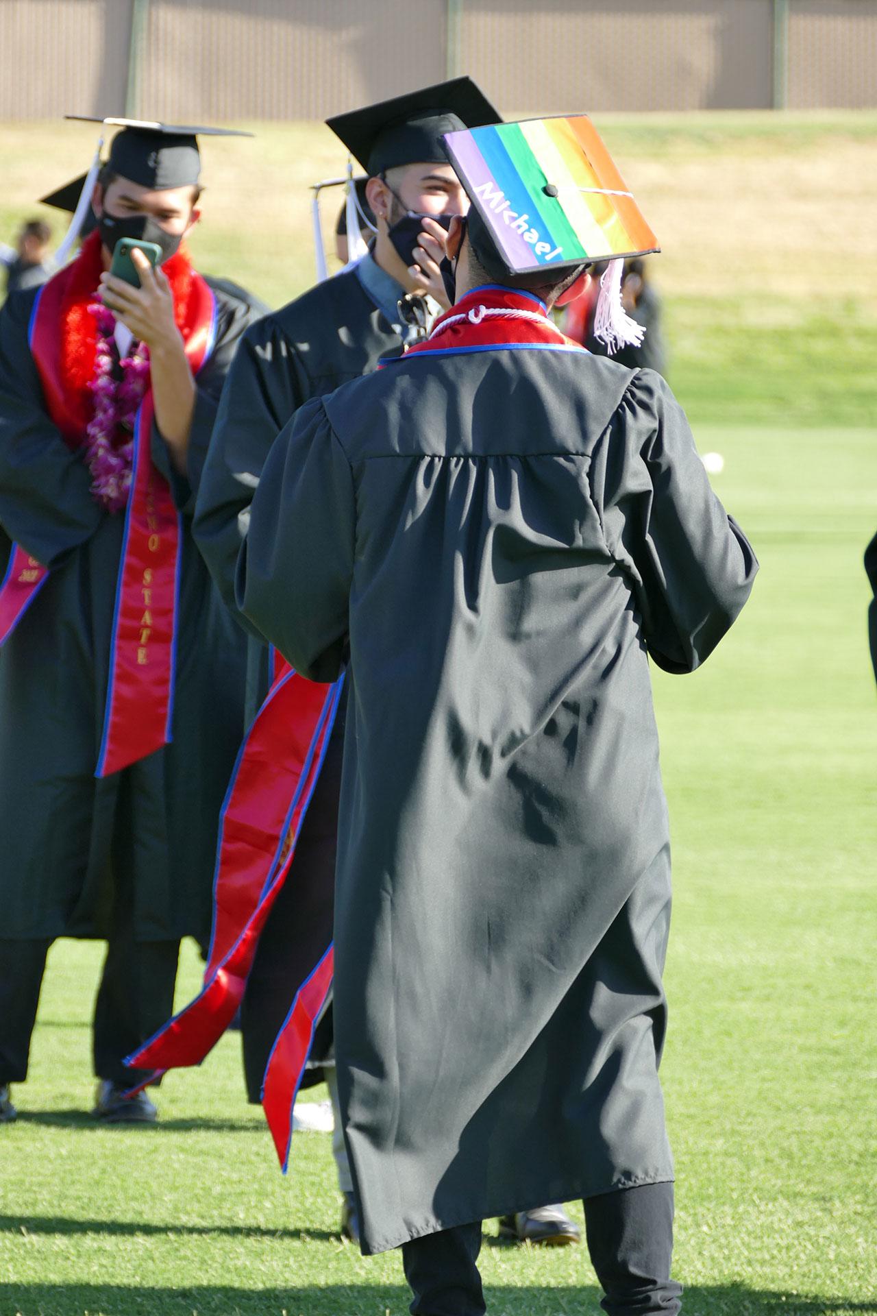 Rainbow decorated grad cap.