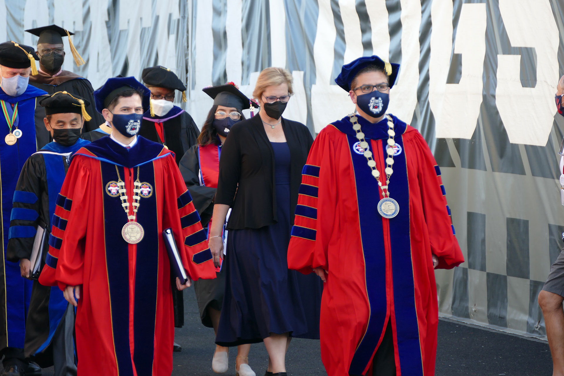 Fresno State President Dr. Saúl Jiménez-Sandoval, Mary Castro and CSU Chancellor Joseph I. Castro.