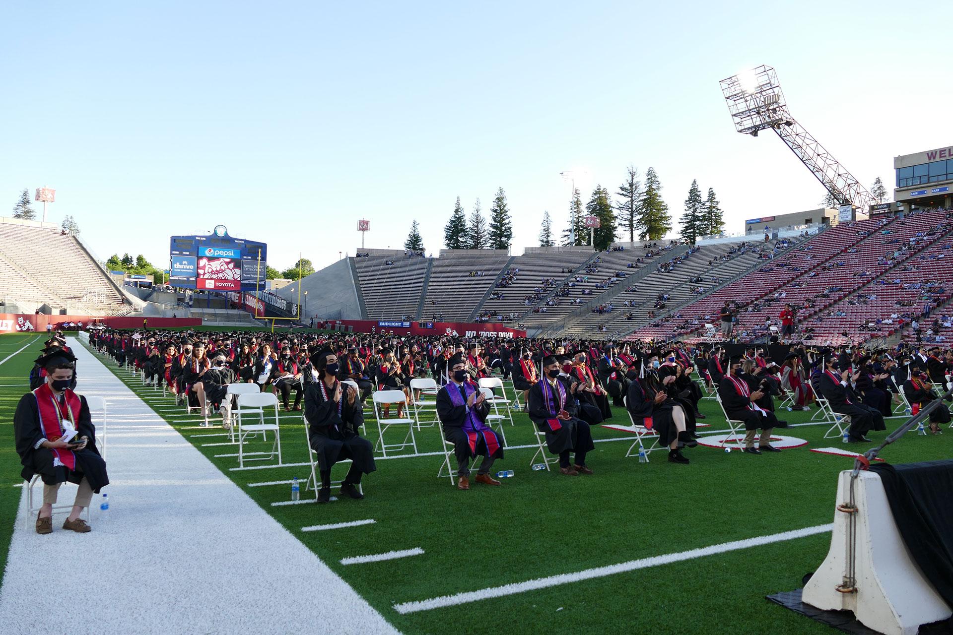 In-person commencement in Bulldog Stadium.