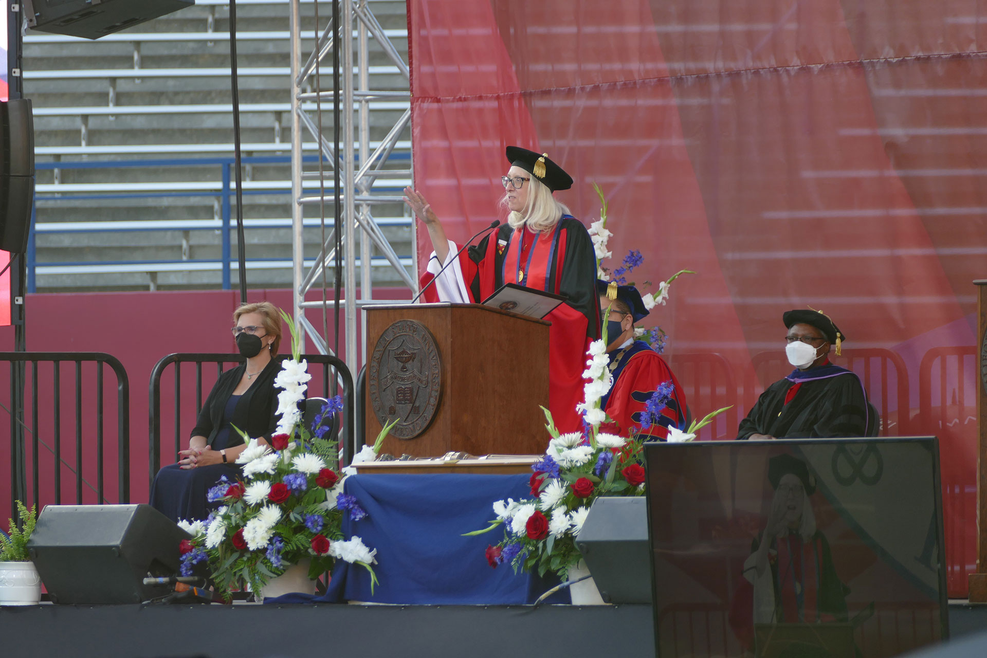 Dean Honora Chapman, Ph.D., speaks during the commencement ceremony.