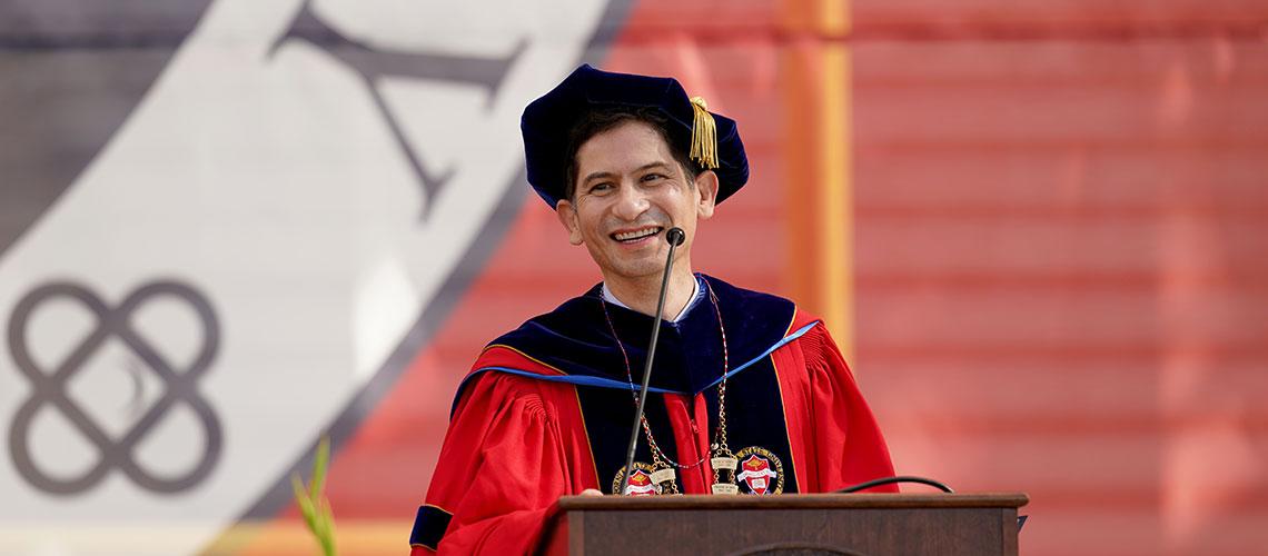 President Saúl Jiménez-Sandoval at a 2021 commencement ceremony.