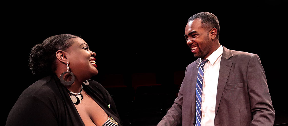 """Arium Andrews and Jimmy Haynie in """"Fat Pig"""""""