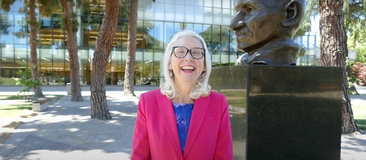 Dr. Honora Chapman, Dean of the College of Arts and Humanities in the Peace Garden at Fresno State.
