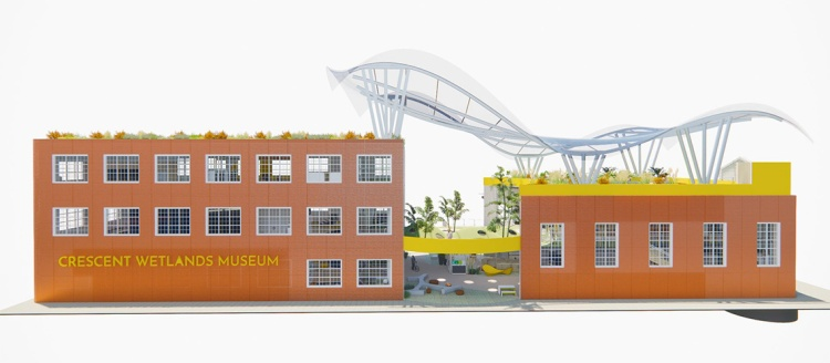 A rendering of the award-winning Crescent Wetlands Museum design by Alex Tsung.