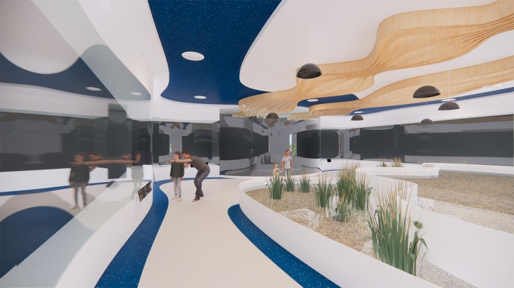 A rendering of the aquarium and touch pools inside the Crescent Wetlands Museum.