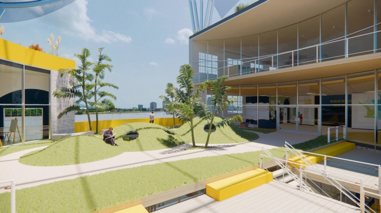 A rendering of the upper Atrium Hillscape at the Crescent Wetlands Museum along the Mississippi River in New Orleans.