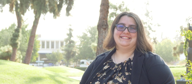 Katelyn Spencer in the Fresno State Peace Garden