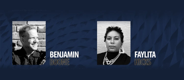 Black and white headshots of Benjamin Boone and Faylita Hicks with their names spelled out in text on a dark blue textured background.