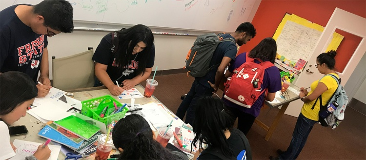 Fresno State Students Participating in Zine Making Workshop Fall 2019. Photo by Anthony Cody