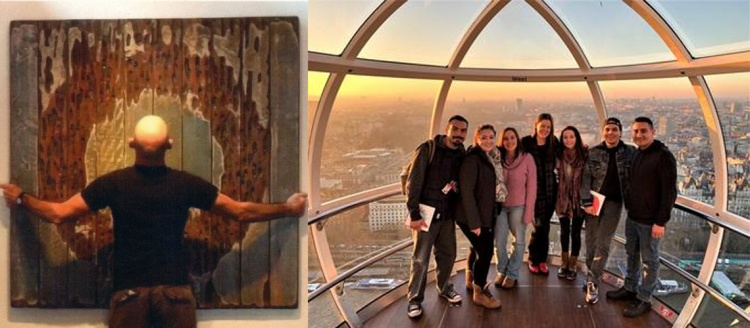 In the right third of the image, Edward O. Lund hangs a piece of art depicting a rusted letter 'O' on barn wood. On the left two thirds, a group of Fresno State students ride the London Eye as the sun sets over the city.